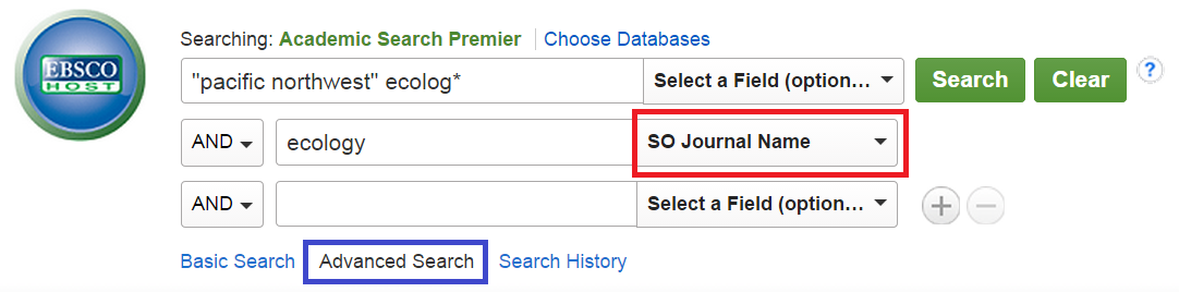 An advanced search in Academic Search Premier