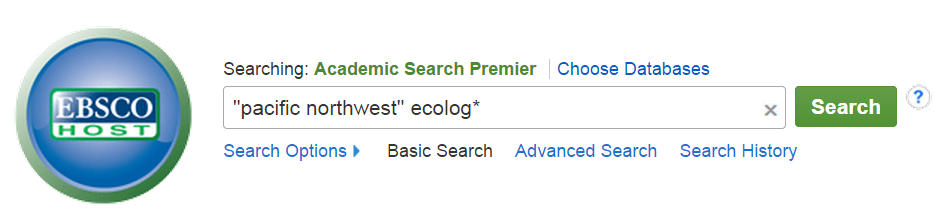 The Academic Search Premier search page, with the search query