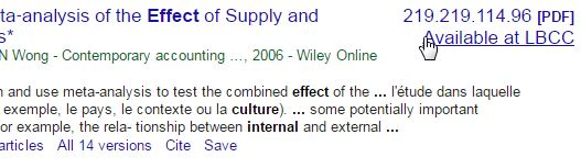 Google scholar search results showing library full text and free pdf availability