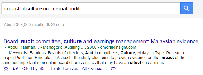 screenshot of google scholar search and result